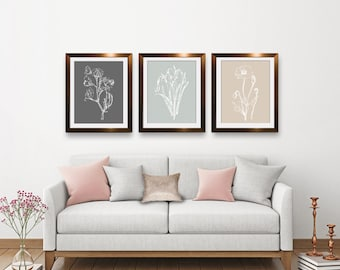 Flower Sketch (Series B) Set of 3 Art Prints (Featured in Charcoal, Fog Grey, French Grey) Botanical Flower Art Print / Poster
