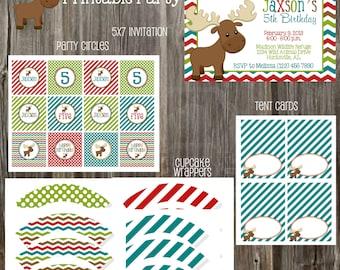 Moose Birthday Party Package - Boy DIY Printable