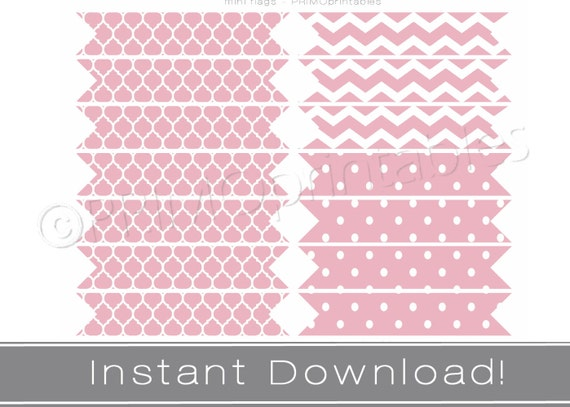 Printable Straw Flags Instant Download Pink Party Decor