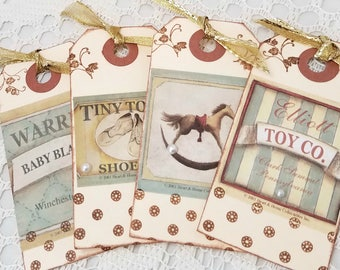 Vintage Toy Gift Tags - Set of Vintage Gift Tags - Vintage Toy Tags - Vintage Gift Tag Set - Set of Vintage Gift Tags - Vintage Toy Tags