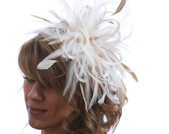 Ivory & Gold Feather Fascinator Hat   -  Headband or comb     Any colour can be ordered - Wedding,Bridal,Mother of the Bride,Tea Party,Ascot