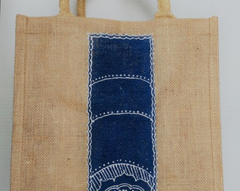 Hand-pained Jute /Burlap Tote