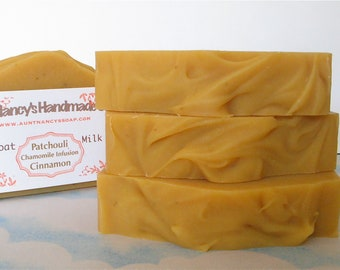 Patchouli Cinnamon Chamomile Infusion Goat Milk and Carrot Handmade Soap - LIGHTLY SCENTED - Made with Olive Oil Infused with Chamomile