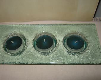 danish glass tealight candle holder