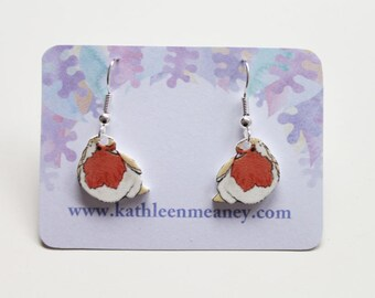 Robin bird drop earrings