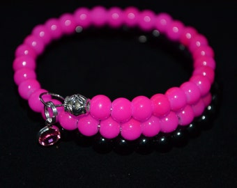 Beaded Bangle Wrap Bracelet Hot Pink & Black With Pink Rose Channel Drop