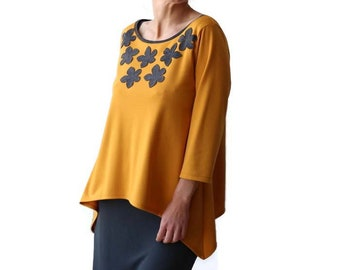 Plus size clothing, Plus size tops, Yellow top, Mustard top, Womens blouses, Boat neck top, 3/4 sleeve/ Long sleeve tunic, plus size