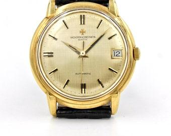 Rare 1960s Vacheron Constantin 6394Q in 18k Yellow Gold with Lien Texture Dial