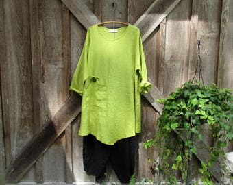 RESERVED FOR ANNETTE ethnic tunic washed linen in Fall leaf green peridot kiwi ready to ship