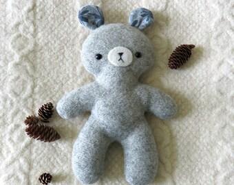 Plush Toy Bear, Repurposed Wool Stuffed Teddy Bear Softie