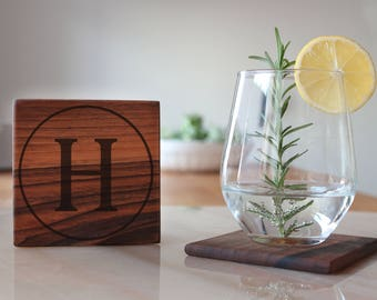 Monogram Coasters Personalized Wedding Favours For Couples, Custom Engraved Wood Coasters for Drink, Engagement Gifts For Couple, Groomsmen