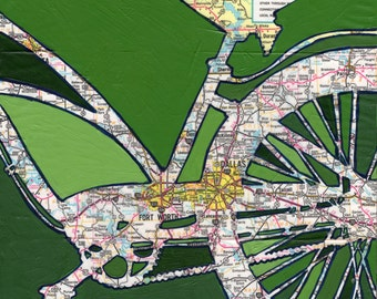Dallas - small print- featuring Dallas, Fort Worth, Arlington Texas bike art print, bicycle map, cycle gift