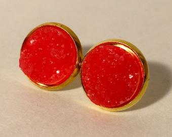 12mm dark orange druzy earrings in gold settings settings