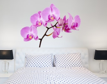 orchids full color mural flowers wall stickers orchid wall decor flowers wall art - Flower Bedroom Decor