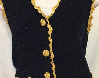 Cute Vintage Michael Simon Vest Black & Gold Trim