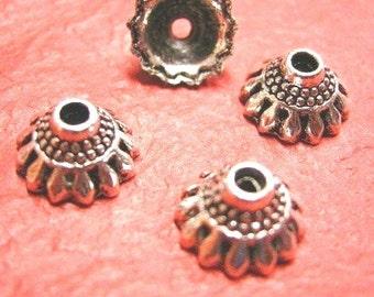 12pc 10mm antique silver finish metal bead cap-3394