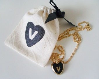 """V - vintage initial heart necklace (16"""") with matching pouch"""