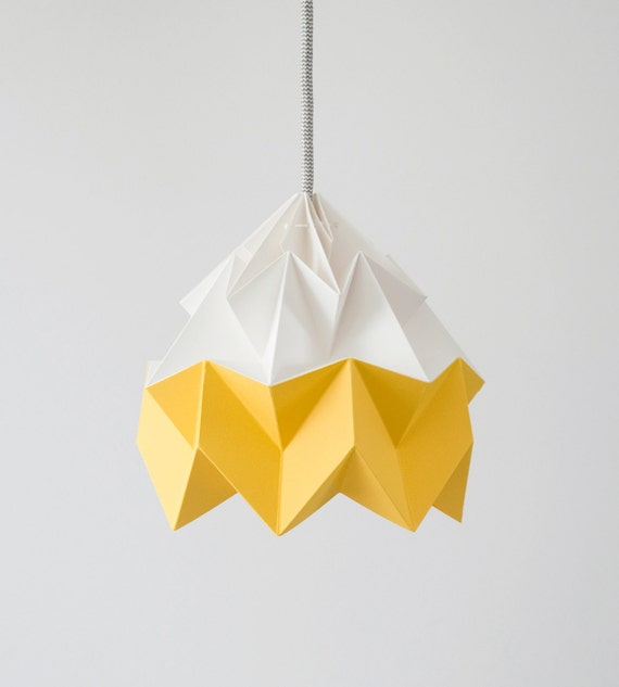 Moth origami lampshade gold yellow and white aloadofball Images