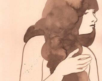 Girl 1 - original walnut ink painting on cream paper