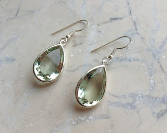 Sterling Silver Prasiolite Earrings Green Amethyst Faceted Cut Teardrops Briolette