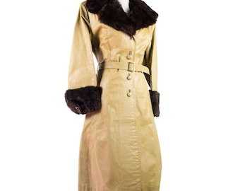 1970s Vintage Buttery Gold Leather Coat