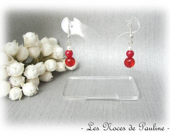 Red and white earrings faceted with three pearls wedding