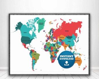 World map download etsy digital modern political world map printable download large world map digital printable map gumiabroncs Images