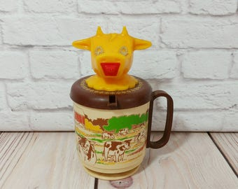 Vintage Plastic Cow Child's Cup Sippy Cup Farm Whirley Industries