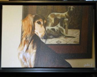 Saluki Framed Photographic Art on Canvas  Bronze Metal Gallery Frame