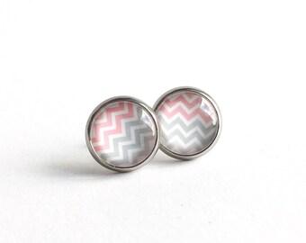 Clous d'oreilles rose avec chevrons 10mm en acier inoxydable, Clous d'oreilles, Boucles d'oreilles, Boucles d'oreilles femmes et filles