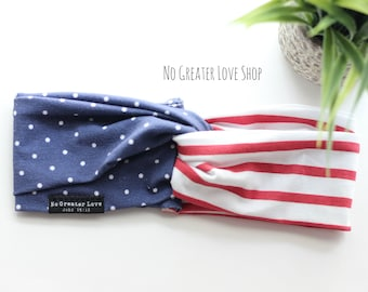Stars & Stripes Headband - Turban Headband - Bow Headband - Big Bow - Top Knot - Headwrap - Patriotic - Baby Child Adult - Buy One Give One