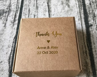 40x Gold Foil Kraft Wedding Favor Boxes • Wedding Thank You Gift Boxes Birthday Party Christening Anniversary Gift Box • Personalised Box