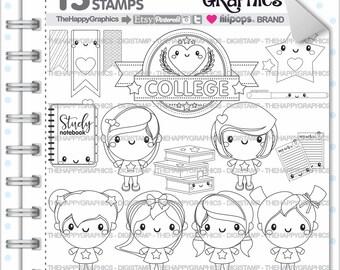 College Stamp, 80%OFF, COMMERCIAL USE, Digi Stamp, Girl Stamp, School Digistamp, Kawaii Stamps, Student Digital Stamp, Sorority, Sisterhood