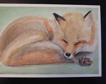 Sleeping Fox Cub   Baby Animals Watercolor Painting