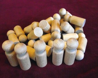 Bulk Pack of 25 of No. 8 Small Boy Peg Doll, Unfinished Hardwood