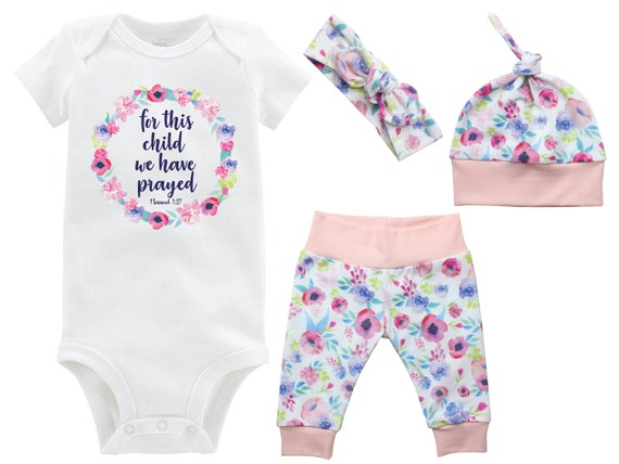 For This Child We Have Prayed Girl Going Home Set Onesie Infant Watercolor Floral Yoga Leggings Top Knot Hat Headband Infertility Onesie