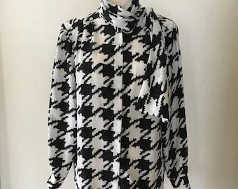 Vintage 1980s 1990s Black and White Secretary Blouse with Neck Scarf Size Medium - Large