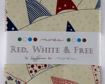 "Sandy Gervais - Red, White and Free Charm Pack - 42 x 5"" x 5"" - 8.99 Per Charm Pack"