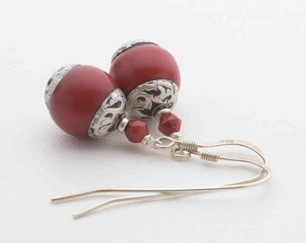 Red Coral Earrings with Tibetan Silver and Sterling Silver. Red Earrings. Gifts for Her on Sale. Red Jewelry. Coral Earrings. Rustic Style