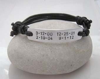 Bracelet for man, Men bracelet, Birthdates bracelet, Gift for Him, Bracelet for Dad, Husband, Important dates,Unique personalized jewelry