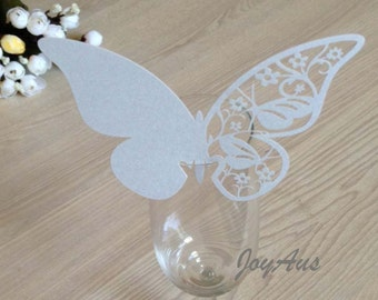 50x Silver Butterfly Name Place Card | Wine Glass Flute Wedding & Party Reception Ceremony Banquet Function Table Centerpiece Decoration