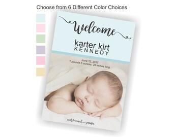 Baby Birth Announcement, Printable Baby Birth Announcement, Custom Photo Birth Announcement, Digital Birth Announcement, Girl or Boy