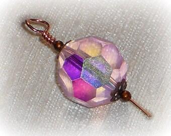 Bead Dangle, Pink Bead Dangle, Pink AB Crystal, Copper Bead Dangle, Handmade Bead Dangle Charm, Round, Crystal Pendant, Pink Crystal Pendant