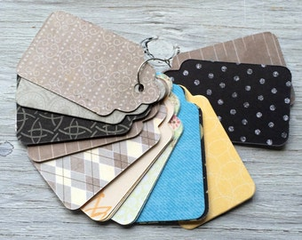 Handmade paper gift tags - patterned gift tags set of 20 medium size 3 inches