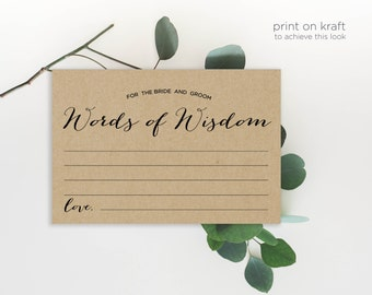 Advice Cards, Wedding Advice Template, Advice Printable, Advice for Bride and Groom, Words of Wisdom| No. EDN 5129A