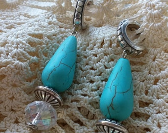 soft turquoise and silver ear baubles