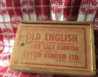 Vintage Decor / Resturant - Kitchen Decor/ Vintage Dovetail Wooden Salt Cod Fish Boxes