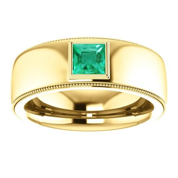 Mens Modern 14K Yellow Gold Emerald Ring Mens 14K White Gold
