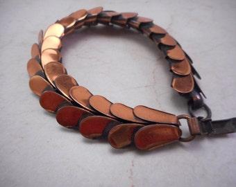 Vintage Rebajes Articulated Copper Bracelet 7 inch Long