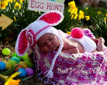 White Easter Bunny with Flower Crochet Hat and Diaper Cover - Photo Prop - Available in Any Size or Color Combination